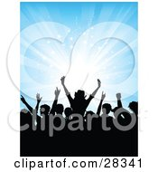 Clipart Illustration Of Black Silhouetted Audience Dancing Over A Bursting Blue Background With White Stars by KJ Pargeter
