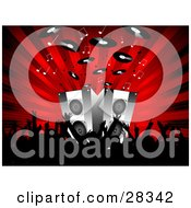 Clipart Illustration Of A Black Silhouetted Audience Waving Their Arms In Front Of Speakers On Stage Blaring Out Music Notes And Records Over A Bursting Red Background by KJ Pargeter