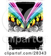 Clipart Illustration Of Seven Black Silhouetted Dancers Behind Speakers Over A Rainbow Background Parting Over Black With White Grunge