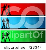 Clipart Illustration Of Green Blue And Red Website Header Banners With Silhouetted Dancers