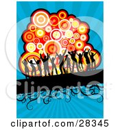 Clipart Illustration Of Eleven Black Silhouetted Dancers On A Black Text Bar With Vines In Front Of A Cluster Of Colorful Circles On A Bursting Blue Background