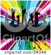 Clipart Illustration Of Seven Black Silhouetted Dancers In Grass On A Black Grunge Text Bar Over A Bursting Rainbow Background