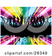 Clipart Illustration Of Fourteen Black Silhouetted Dancers In Grass On A Black Grunge Text Bar Over A Bursting Rainbow Background