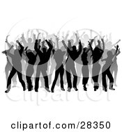 Clipart Illustration Of A Black And Gray Silhouetted Dancers At A Party