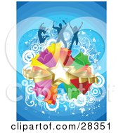 Clipart Illustration Of Three Leaping Dancers Silhouetted Over A Cluster Of Colorful Stars White Circles And A Blue Background