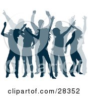 Clipart Illustration Of A Group Of Dancers At A Party Silhouetted In Blue