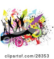Clipart Illustration Of Four Black Silhouetted Dancers Dancing On A Black Arrow Over A Grunge Background Of Colorful Circles Arrows And Splatters On White