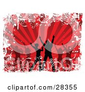 Clipart Illustration Of Silhouetted Dancers Over A Bursting Red Background Bordered By White Grunge
