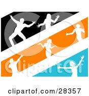 Clipart Illustration Of White Silhouetted Dancers In Black Orange And Blue Stripes
