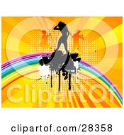 Clipart Illustration Of A Black Silhouetted Dancer On A Rainbow With White And Black Splatters Over A Bursting Orange And Yellow Background