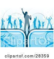 Clipart Illustration Of A Group Of Dancers Silhouetted Over A Circle Background On Blue Floral Boxes