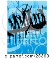 Clipart Illustration Of A Eight Black Dancers Silhouetted On A Dripping Grunge Bar Over A Blue Background
