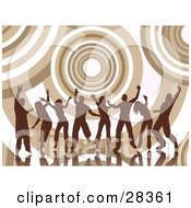 Clipart Illustration Of Group Of Silhouetted Brown Dancers Over A Background Of Giant Circles