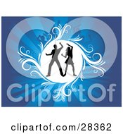 Clipart Illustration Of A Dancing Couple Silhouetted In A White Circle Over A Bursting Blue Background