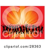 Clipart Illustration Of Black Silhouetted Dancers At A Party Over A Bursting Red And Orange Background