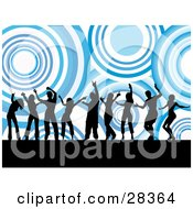 Clipart Illustration Of Nine Black Dancers Silhouetted Against A Background Of Giant Blue And White Circles