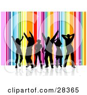 Clipart Illustration Of A Group Of Six Black Silhouetted Dancers Over A Vertical Rainbow Background