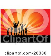 Clipart Illustration Of Six Black Silhouetted Dancers Partying Over A Bursting Orange And Red Background With Rays