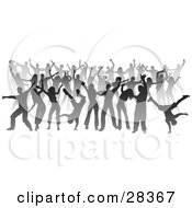 Clipart Illustration Of A Party Of Gray Silhouetted Dancers Over White