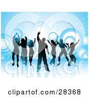 Clipart Illustration Of Gradient Silhouetted Dancers Over A Blue Background With Circles