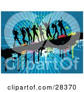 Clipart Illustration Of Eight Black Silhouetted Dancers Dancing On A Dripping Grunge Text Bar With Colorful Splatters Over A Blue Bursting Background With Stars