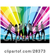 Clipart Illustration Of Seven Black Silhouetted Dancers Partying Over A Bursting Rainbow Background