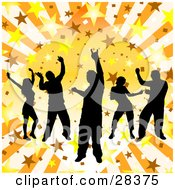 Clipart Illustration Of Five Black Silhouetted Dancers On A Bursting Orange Star Background