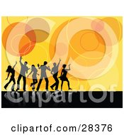 Clipart Illustration Of Black Silhouetted Dancers Reflecting As White On A Black Surface Over A Retro Circle Orange Background
