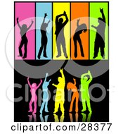 Clipart Illustration Of A Group Of Colorful Silhouetted Dancers Over Black Including Separated People In Black Over Colorful Backgrounds