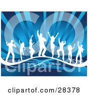 Clipart Illustration Of A Group Of White Silhouetted Dancers On A Wave Over A Blue Bursting Background