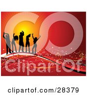 Clipart Illustration Of Five Black Silhouetted Dancers On Waves Of Red And White With Sparkles Over A Bursting Orange And Red Background