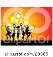 Clipart Illustration Of Black Dancers Silhouetted Over A Bursting Orange And Red Background With Circles