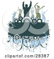 Clipart Illustration Of A Group Of Silhouetted Blue And Green Dancers Over A Text Box With Circles And Vines