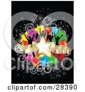 Clipart Illustration Of Five Black Silhouetted Dancers On A Cluster Of Colorful Stars With Gray Circles On A Black Background