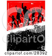 Clipart Illustration Of Five Black Silhouetted Dancers On A White Grunge Bar Over A Black And Red Background