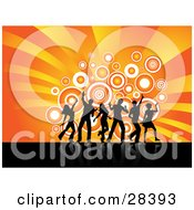 Clipart Illustration Of Black Dancers Silhouetted Against Circles Over A Bursting Orange And Yellow Background