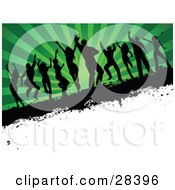 Clipart Illustration Of Ten Black Silhouetted Dancers On A Grunge Text Bar Over A White Corner With A Bursting Green Background