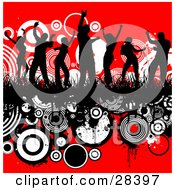 Clipart Illustration Of Seven Black Silhouetted Dancers Dancing In Grass On A Grunge Background Of White And Black Circles Over Red