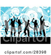 Clipart Illustration Of Six Black Dancers Silhouetted Against A Blue Background With White Grunge Circles