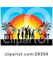 Clipart Illustration Of Black Dancers Silhouetted Against The Sunset Dancing On A Tropical Beach Near Palm Trees