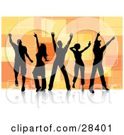 Clipart Illustration Of Group Of Five Black Silhouetted Dancers Over A Retro Orange Square Background On A White Dance Floor