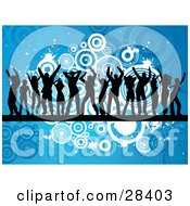 Clipart Illustration Of Fourteen Black Dancer Silhouettes On A Black Line Across A Blue Background With White And Blue Circles And Splatters