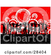 Clipart Illustration Of Black Silhouetted Dancers At A Party Over A Black And Red Background With Gray And White Circles