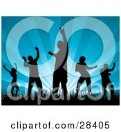 Clipart Illustration Of Five Black Dancers Dancing In Grass Silhouetted Over A Bursting Blue Background