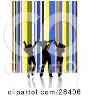 Clipart Illustration Of Three Black Silhouetted Dancers On A White Surface Over A Vertical Brown Blue Yellow And White Background Of Stripes