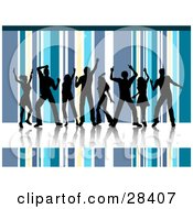 Clipart Illustration Of Eight Black Dancers On A Reflective White Floor Silhouetted Against A Blue Yellow And White Striped Background