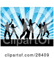 Clipart Illustration Of Three Couples Silhouetted On A Dance Floor Over A Bursting Sparkly Blue Background