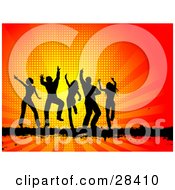 Clipart Illustration Of Five Black Silhouetted Dancers On A Black Bar Over A Bursting Orange And Red Background