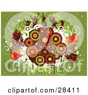 Clipart Illustration Of Silhouetted Dancers On A Colorful Retro Circle Cluster With Bursting Stars Over Green