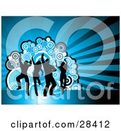 Clipart Illustration Of Four Black Dancers Silhouetted Against A Bursting Blue Background With Circles